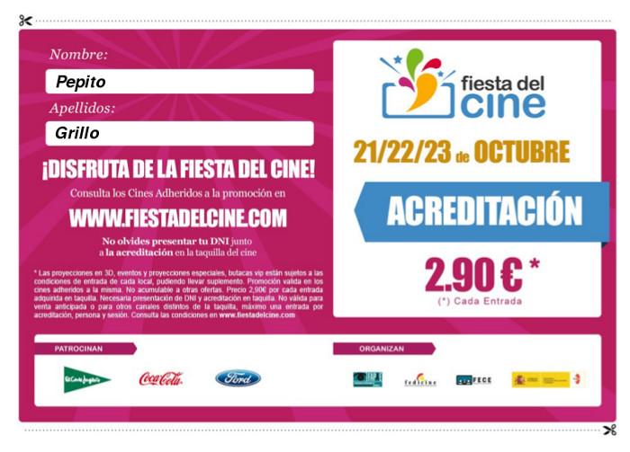 Fiesta del cine 2013 - Acreditación
