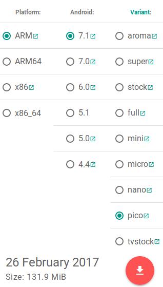 Selección de variante de Open GApps
