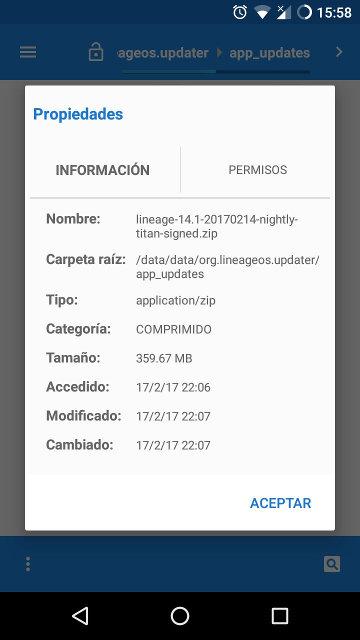 Ficheros de actualización de LineageOS