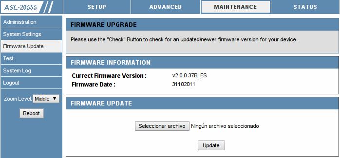 Panel de administración web del router ASL-26555