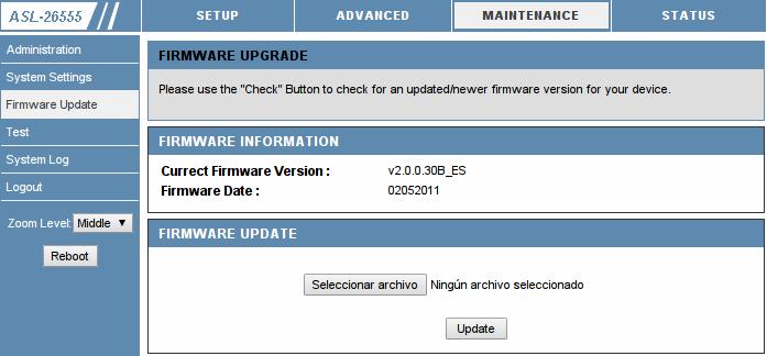 Panel de administración web del router ASL-26555 con un firmware antiguo