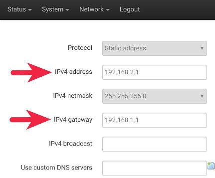 Configuración interfaz LAN - OpenWrt